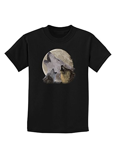 TooLoud Three Wolves Howling at the Moon Childrens Dark T-Shirt - Black - XL
