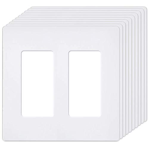 2 Plates Wall ([10 Pack] BESTTEN 2-Gang Screwless Wall Plate, USWP6 Snow White Series, Slightly Larger Size Outlet Cover for Light Switch, Dimmer, USB, GFCI, Decor Receptacle, Residential and Commercial, UL Listed)