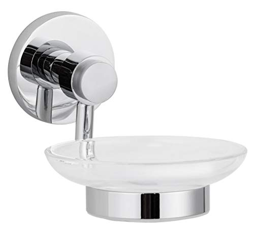 MAYKKE Xander Wall Mount Glass Soap Dish and Holder Stainless Steel Tray for Bathroom, Shower, Kitchen Polished Chrome, XYA1040201