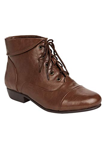 Comfortview Women's Plus Size The Darcy Bootie - Cognac, 9 1/2 WW