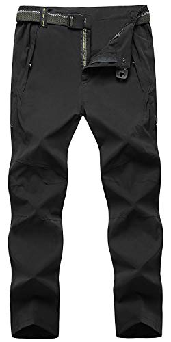 TBMPOY Men's Outdoor Quick-Dry Lightweight Waterproof Hiking Mountain Pants with Belt
