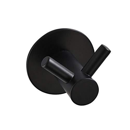 (2 Pcs Punch Free Coat Hook Coat Hook Double Hook (Black) for Hanging Kitchen Bathroom Home Hotel)