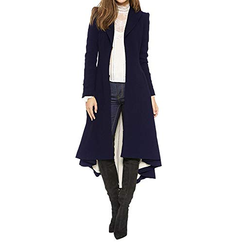(NUWFOR Women's Irregular Full-Zip Coat Lapel Outwear Casual Long Sleeves Tops for Winter/Autumn(Navy,S))