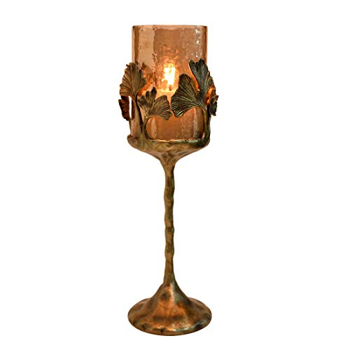 Decozen The Gingko Collection Large Glass Candle Holder in Brown Luster Finish Antique Brass Finished Aluminum Gingko Leaves and Base for Home Décor and Gifting Vintage Candle ()