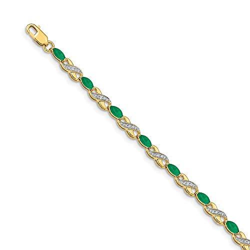14k Yellow Gold Diamond Green Emerald Bracelet Gemstone Bm Fine Jewelry Gifts For Women For Her