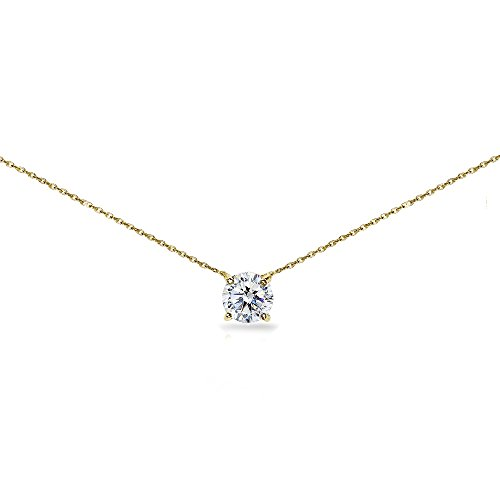 Yellow Gold Flashed Sterling Silver Clear Solitaire Choker Necklace set with Swarovski -