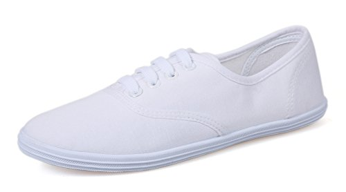 VenusCelia Women's Champion Original Canvas Sneaker (10 B(M) US, White) (Vintage Shoes Sneakers)