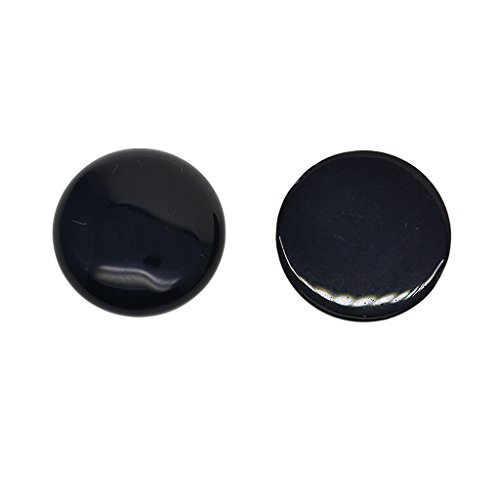MagiDeal 2 Pieces 1'' Round Cabochon Natural Labradoriate Gemstone For Necklaces Pendants Jewelry Findings Making Accessories DIY Crafts - Black ()