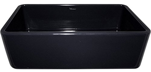 Whitehaus WH3618-Black Single Fireclay Farmhouse Apron Front Kitchen Sink by Whitehaus Collection