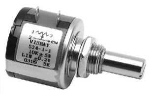 SPECTROL 534-11102 WIREWOUND POTENTIOMETER, 1KOHM, 5%, 2W; TRACK RESISTANCE:1KOHM; NO. OF TURNS:10TURNS; TRACK TAPER:LINEAR; POWER RATING:2W; RESISTANCE TOLERANCE:¦ 5%; PRODUCT RANGE:534 SERIES; POTEN ()