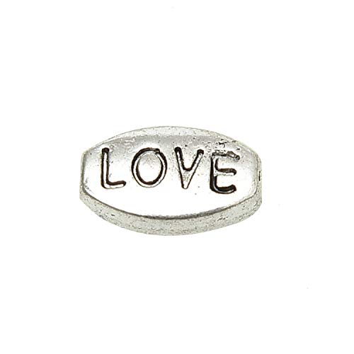 Monrocco 100 Pcs Antique Silver Oval Metal Alloy Love Message Word Beads Loose Spacer Beads for Bracelets Jewelry Making