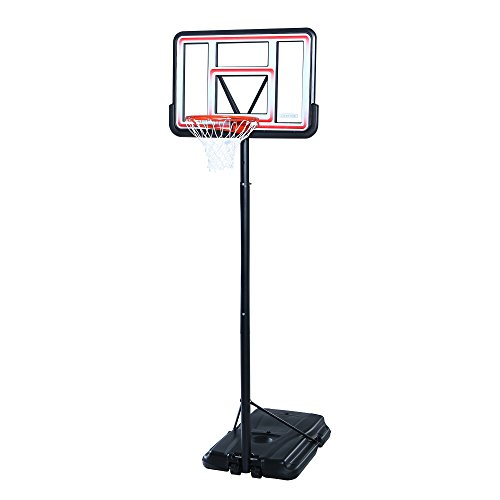Lifetime 1269 Pro Court Height Adjustable Portable Basketball System, 44 Inch Backboard (Height Of A Basketball Hoop High School)