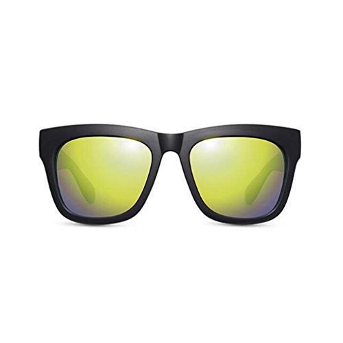 UV400 Protección de sol sol mujer Protección nuevas Gafas sol Opcio de sol al para aire Gafas de de Regalo polarizadas conducción de Gafas excursionista Reflective Green de Gafas UV casuales Frame Black libre Vintage Personalidad Matte 8q6ga6