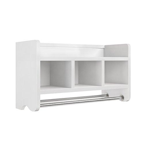 "Logan 25"" Bath Storage Shelf with 3 Cubbies and Towel Rod, White"