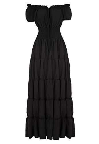 Haoaugut Women Renaissance Medieval Irish Costume Over Dress Smocked Waist Retro Gown Cosplay Black S