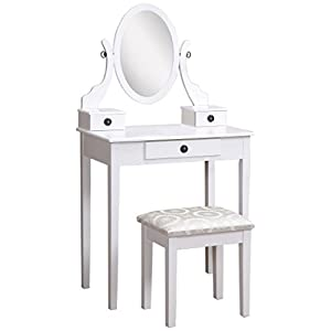 Roundhill Furniture 3415PI Moniys Pink Wood Moniya Makeup Vanity Table and Stool Set