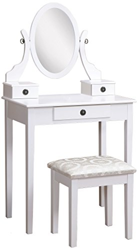 Roundhill Furniture Moniya White Wood Vanity Table and Stool Set (Stool Table Vanity For)