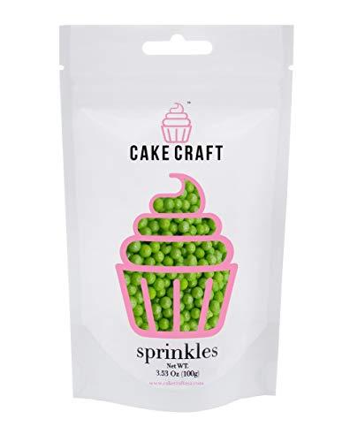 Cake Craft - Sprinkles - Metallic Green Sugar Pearls - 100g Bag - For Cake Decorating -