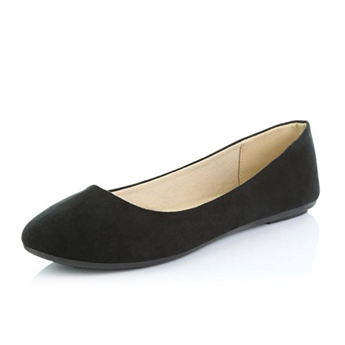 Womens Black Suede Loafers Shoes - DailyShoes Women's Comfortable Soft Round Flat Slip-On Padded Loafer Casual Shoes, Black Suede, 10 B(M) US
