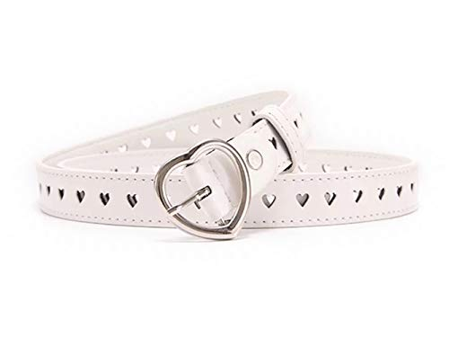 Women Fashion Hollow Heart PU Leather Dress & Jeans Narrow Waist Belt for Girls and Ladies Heart Buckle (White)