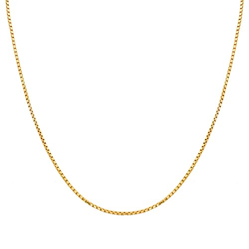 Box 10k Necklace Gold Venetian (Mr. Bling 10K Yellow Gold 1.5mm Open Hollow Venetian Box Chain Necklace (24))