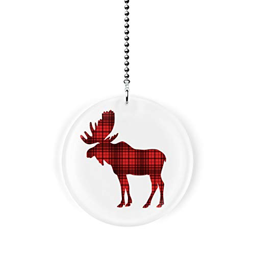 Woodland Moose Silhouette Red Plaid Fan/Light Pull