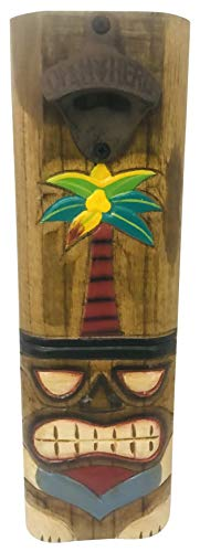 Westman Works Tiki Beer Bottle Opener Wood Wall Plaque with Palm Tree Design Handmade and Painted Bar Decor, 13 Inches
