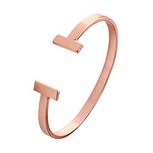 SENFAI Simple Double T Cuff Bracelet/Jewelry Set for Women (Thick Bracelet, Rose-Gold-Plated-Brass)