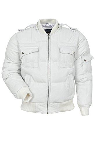 LE PILOTE Bomber SIX PUFFER 'à capuche pour hommes COULEUR BLANC Véritable Real Leather Jacket VESTE DE CUIR