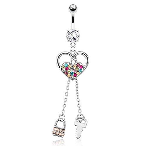 Piercing nombril coeur avec Multi Couleur pavé gemmes - en acier chirurgical 316L