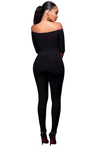 Damen Schwarz Schulterfrei Jumpsuit Catsuit Clubwear Kleidung Größe S UK 8�?0EU 36�?8