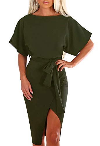 Merryfun Dress for Women Short Sleeve Knee Length Dress with Front Slit, Army Green 2XL