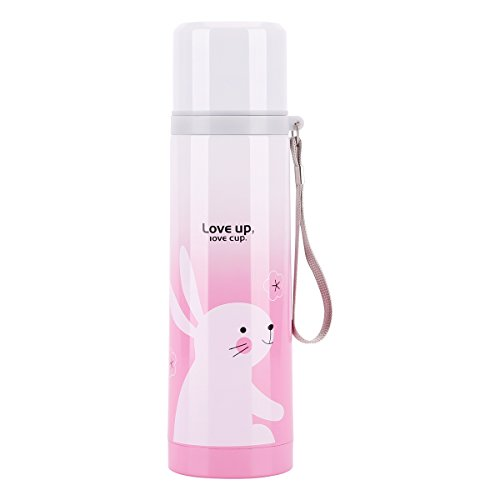UPSTYLE Portable Thermos Travel Mug Cute Design Vacuum Insulated Stainless Steel Thermos Water Bottle 17 oz Size Coffee Thermos Vacuum Flask, Pink
