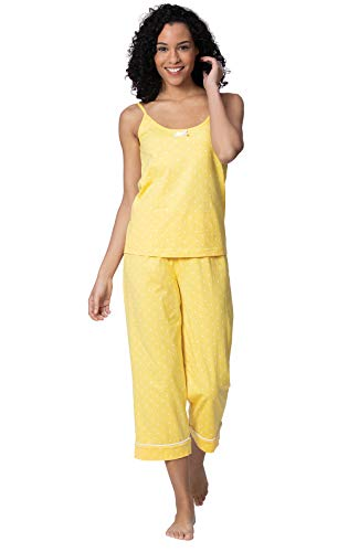 PajamaGram Capri Pajamas for Women - Women PJs Sets, Cami Top, Yellow, S, 4-6
