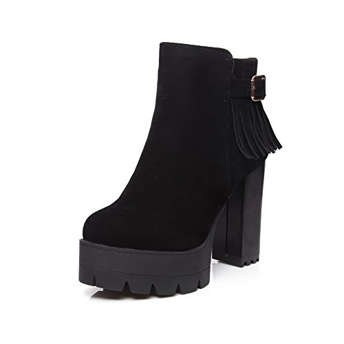 Heels Low Top Women's Boots Allhqfashion Black High Fringed Zipper qIntUEU
