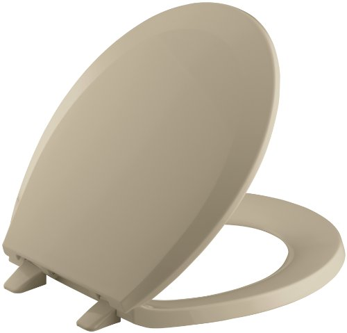 Mexican Sand Elongated Toilet Seat - KOHLER K-4662-33 Lustra with Quick-Release Hinges Round-front Toilet Seat, Mexican Sand