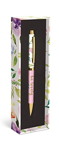 Graphique Flower Love Fashion Pen, 5.5 Refillable Black Ink Ballpoint Pen w/ Gold Finish & Matching Gift Box, Makes a Beautiful, Unique Gift