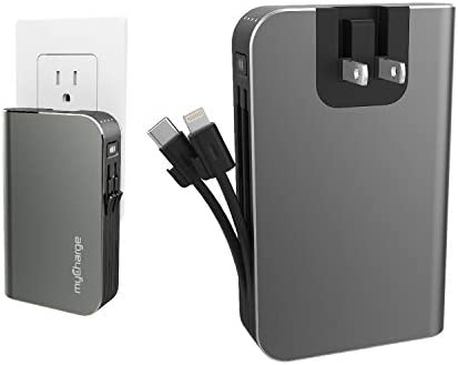 myCharge Portable Charger for iPhone Built in Cable USB C Power Bank Fast Charging Hub Turbo 18W / 10050mAh (Lightning, Type C) Wall Plug External Battery Pack Backup for Apple, Android, 55 Hrs