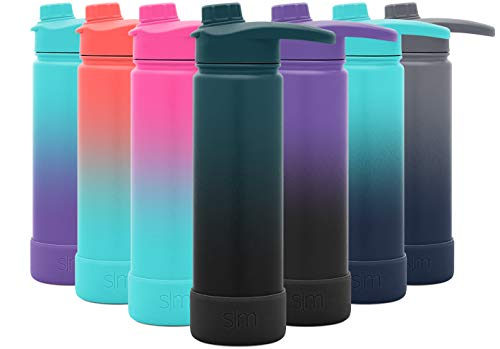Simple Modern 22 Ounce Summit Water Bottle with Chug Lid & Protective Boot - Hydro Vacuum Insulated Flask 18/8 Stainless Ombre: Moonlight
