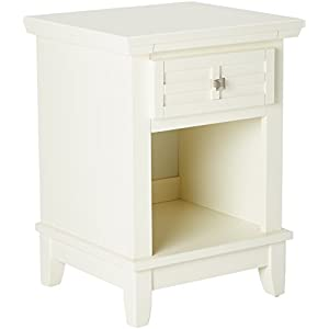 Home Styles Arts and Crafts White Nightstand with Drawer, Pull-out Tray, and a Recessed Storage