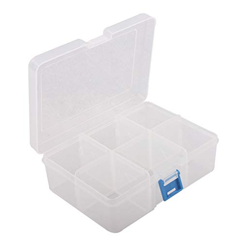 BangQiao Plastic Parts Storage case and Adjustable Divider Box for Hardware and Craft, 6 grids, Clear