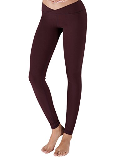 Yoga Reflex - Workout Pants for Women's Fitness - Back Zip Pocket, MAROON, S