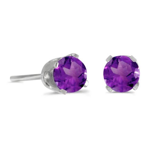 14k White Gold 4 mm Round Natural Amethyst Stud ()