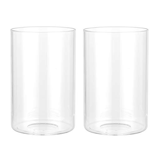 Skelang 2 Pcs Clear Glass Shade Cylinder Glass Lamp Shade With 1 5 8 Fitter Lampshade Replacement For Lighting Fixture Ceiling Fans Chandelier Table Lamps Wall Lamp Pricepulse