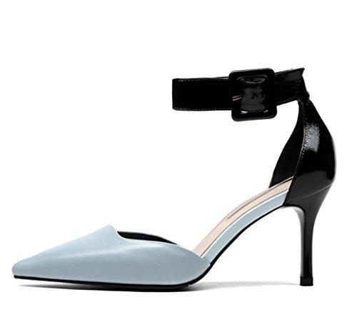 Clair Talons à Talons Hauts Hauts à 34 Chaussures Colorblock Hollow Sandales Printemps été Bleu Couleur Taille Clair Bleu Pointues LBDX et wgxaf