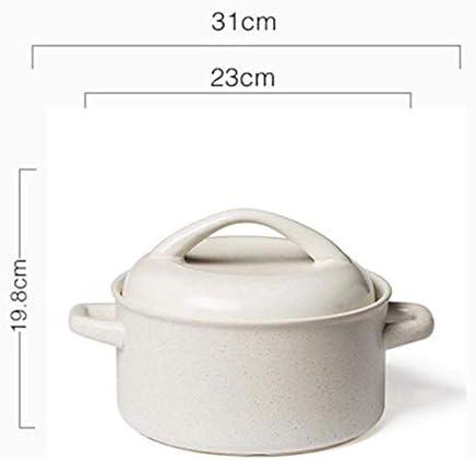 Yxxc Casserole, Casserole Pot Ragoût en Terre Cuite Casserole en céramique - Texture Stable, Pas Facile à Vieillir, antiadhésive, Facile à Nettoyer-White_Capacity 4L