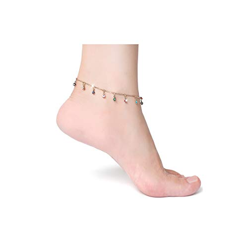 10k 14k Charm Bracelet - COLROV 14k Gold Ankle Bracelets for Women Teen Girls Cute Beach Foot Jewelry Anklets Color Gold