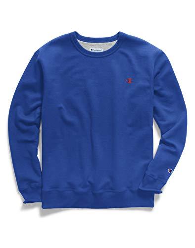 - Champion Men's Powerblend Fleece Pullover Sweatshirt, surf The Web/Team red Scarlet Embroidered c Logo, XX-Large