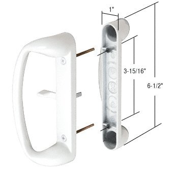 High Profile White Mortise Style Sliding Glass Door Handle 3 15 16quot