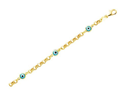 - Finejewelers 14K Yellow Gold 5.5 Inch Evil Eye Childrens Bracelet with Pear Shape Clasp